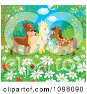 Clipart Horses And A Deer In A Spring Meadow Royalty Free Illustration