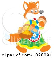 Clipart Happy Female Fox In Clothing Carrying Mushrooms Royalty Free Vector Illustration