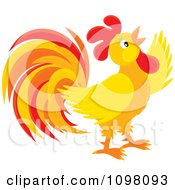 Clipart Crowing Orange And Red Rooster Royalty Free Vector Illustration