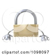 Clipart 3d Golden Padlock With A Sign 7 Royalty Free CGI Illustration