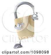 Clipart 3d Golden Padlock With A Sign 8 Royalty Free CGI Illustration