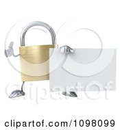 Clipart 3d Golden Padlock With A Sign 9 Royalty Free CGI Illustration
