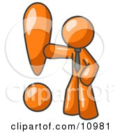 Orange Businessman Standing By A Large Exclamation Point Clipart Illustration