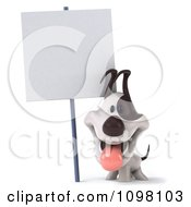Clipart 3d Happy Jack Russell Terrier Dog With A Blank Sign Royalty Free CGI Illustration