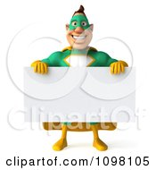 Clipart 3d Super Hero Man In A Green And Yellow Costume With A Sign 5 Royalty Free CGI Illustration by Julos