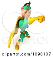 Clipart 3d Punching Super Hero Man In A Green And Yellow Costume 4 Royalty Free CGI Illustration