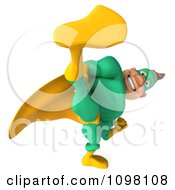 Clipart 3d Kicking Super Hero Man In A Green And Yellow Costume 3 Royalty Free CGI Illustration