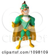 Clipart 3d Thumbs Up Super Hero Man In A Green And Yellow Costume 2 Royalty Free CGI Illustration by Julos