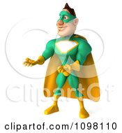 Clipart 3d Presenting Super Hero Man In A Green And Yellow Costume 2 Royalty Free CGI Illustration