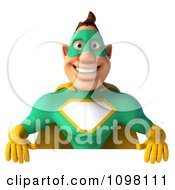 Clipart 3d Super Hero Man In A Green And Yellow Costume With A Sign 1 Royalty Free CGI Illustration