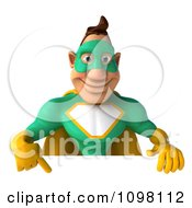 Clipart 3d Super Hero Man In A Green And Yellow Costume With A Sign 2 Royalty Free CGI Illustration