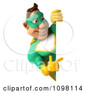 Clipart 3d Super Hero Man In A Green And Yellow Costume With A Sign 4 Royalty Free CGI Illustration