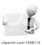 Clipart 3d White Businessman Presenting A Blank Board Royalty CGI Illustration