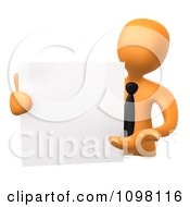Clipart 3d Orange Businessman Presenting A Blank Board Royalty CGI Illustration by 3poD