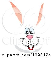Clipart Happy White Easter Bunny Face Royalty Free Vector Illustration by Dennis Holmes Designs