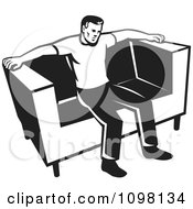 Clipart Retro Black And Whit Eman Sitting On A Couch Royalty Free Vector Illustration