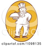 Clipart Retro Woodcut Chef Holding Out A Platter In A Yellow Oval Royalty Free Vector Illustration
