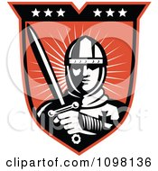 Clipart Retro Knight Crusader With A Sword On A Shield Royalty Free Vector Illustration
