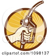 Clipart Retro Hand Holding A Gasoline Fuel Nozzle Over Rays Royalty Free Vector Illustration by patrimonio