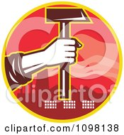 Clipart Factory Laborer Hand Holding Out A Hammer Royalty Free Vector Illustration