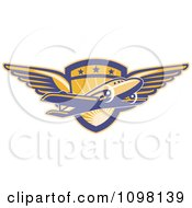 Clipart Retro Commercial Airliner Plane Over A Winged Pilot Shield Royalty Free Vector Illustration