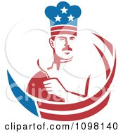 Clipart American Male Chef Holding A Spoon With Stars And Stripes Royalty Free Vector Illustration by patrimonio