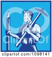 Clipart Retro Woodcut Blue Draftsman Architect Holding A Large Pencil And T Square Royalty Free Vector Illustration