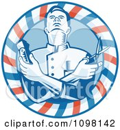 Retro Woodcut Styled Barber Holding Clippers And Scissors In A Striped Circle