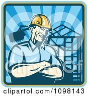 Clipart Retro Construction Worker Foreman Smiling With Folded Arms With A Home Being Built In The Background Royalty Free Vector Illustration