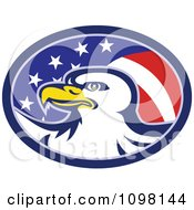 Clipart American Flag Oval And Bald Eagle Royalty Free Vector Illustration