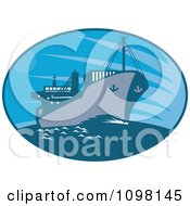 Clipart Blue Oval With A Cargo Ship Royalty Free Vector Illustration