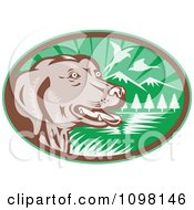 Clipart Retro Chocolate Lab Dog By A Lake With Pheasants Flying In A Green Ova Royalty Free Vector Illustration