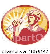 Retro Electrician Lineman Holding A Lightning Bolt In An Oval