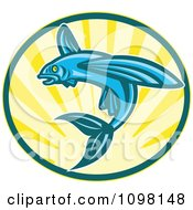 Clipart Blue Retro Woodcut Flying Fish Jumping Over Sunshine Royalty Free Vector Illustration