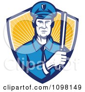 Clipart Retro Police Officer Holding A Baton In A Shield Or Rays Royalty Free Vector Illustration