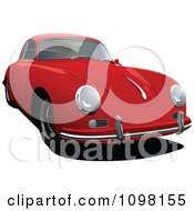 Clipart Red Porsche 356 Car Front View Royalty Free Vector Illustration by leonid
