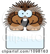 Clipart Happy Porcupine Over A Sign Royalty Free Vector Illustration by Cory Thoman