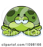 Clipart Bored Green Sea Turtle Royalty Free Vector Illustration