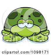Clipart Depressed Green Sea Turtle Royalty Free Vector Illustration