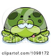 Clipart Sick Green Sea Turtle Royalty Free Vector Illustration by Cory Thoman
