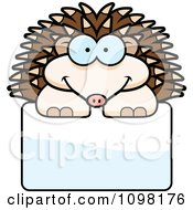 Clipart Happy Hedgehog Over A Sign Royalty Free Vector Illustration