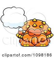 Clipart Dreaming Orange Ankylosaurus Dinosaur Royalty Free Vector Illustration by Cory Thoman