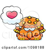 Clipart Orange Ankylosaurus Dinosaur Thinking About Love Royalty Free Vector Illustration by Cory Thoman