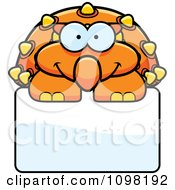 Clipart Happy Orange Ankylosaurus Dinosaur Over A Sign Royalty Free Vector Illustration by Cory Thoman