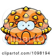 Clipart Happy Orange Ankylosaurus Dinosaur Royalty Free Vector Illustration