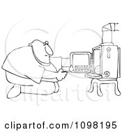 Clipart Outlined Kneeling Man In Front Of His Heat Stove To Light A Fire Royalty Free Vector Illustration by Dennis Cox