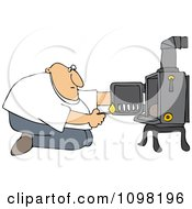 Clipart Man Kneeling In Front Of His Heat Stove To Light A Fire Royalty Free Vector Illustration by djart