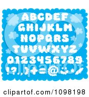 Clipart Puffy Cloud Capital Letters Numbers And Punctuation Design Elements Over Blue Royalty Free Vector Illustration