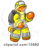 Orange Fireman In A Uniform Fighting A Fire Clipart Illustration