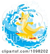 Clipart Cute Kangaroo Surfing In A Wave Royalty Free Vector Illustration